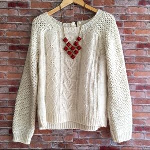 Cynthia Rowley Ivory cableknit sweater